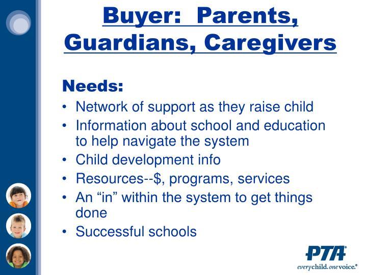 Buyer:  Parents, Guardians, Caregivers