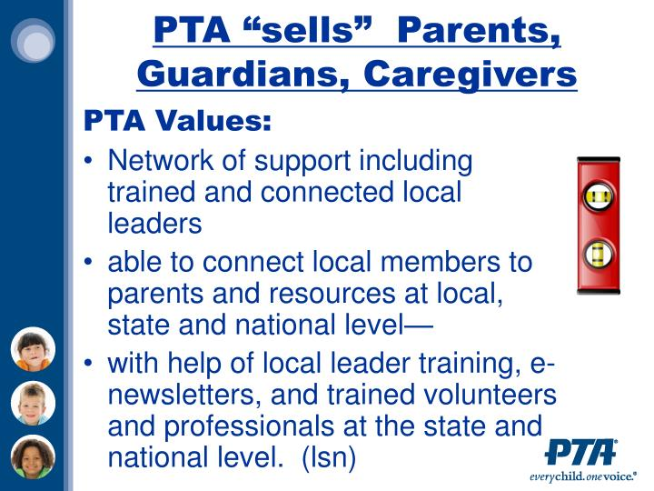 "PTA ""sells""  Parents, Guardians, Caregivers"