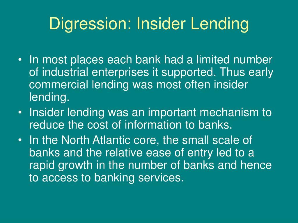Digression: Insider Lending