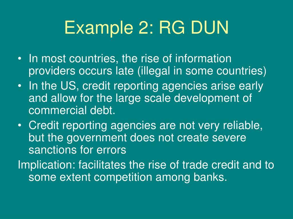 Example 2: RG DUN