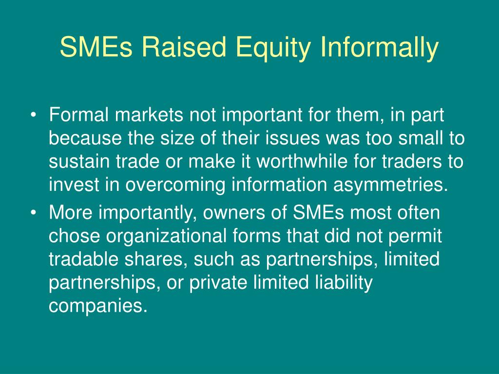 SMEs Raised Equity Informally