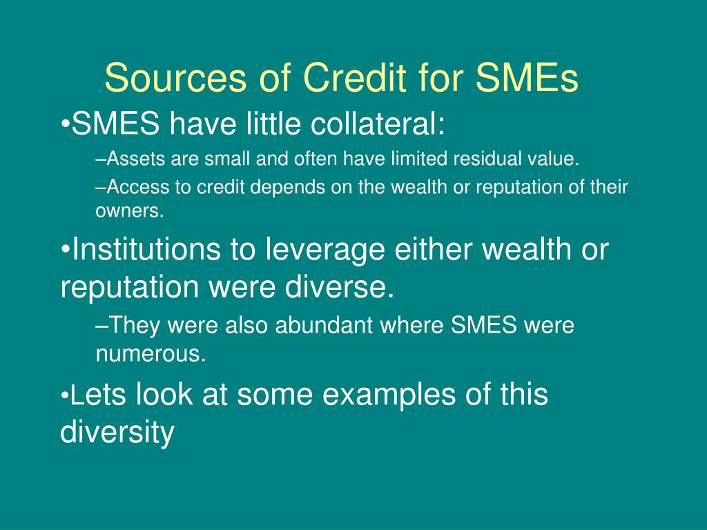 Sources of Credit for SMEs