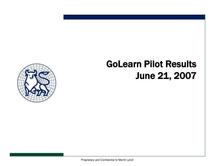 GoLearn Pilot Results
