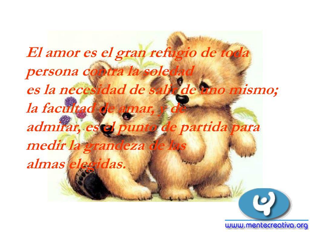 El amor es el gran refugio de toda persona contra la soledad