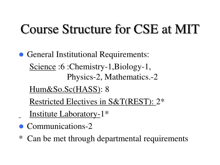 Course Structure for CSE at MIT