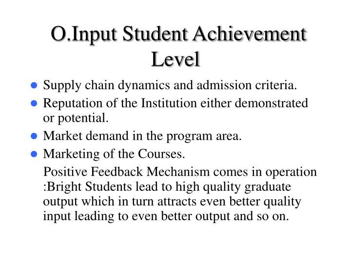 O.Input Student Achievement Level