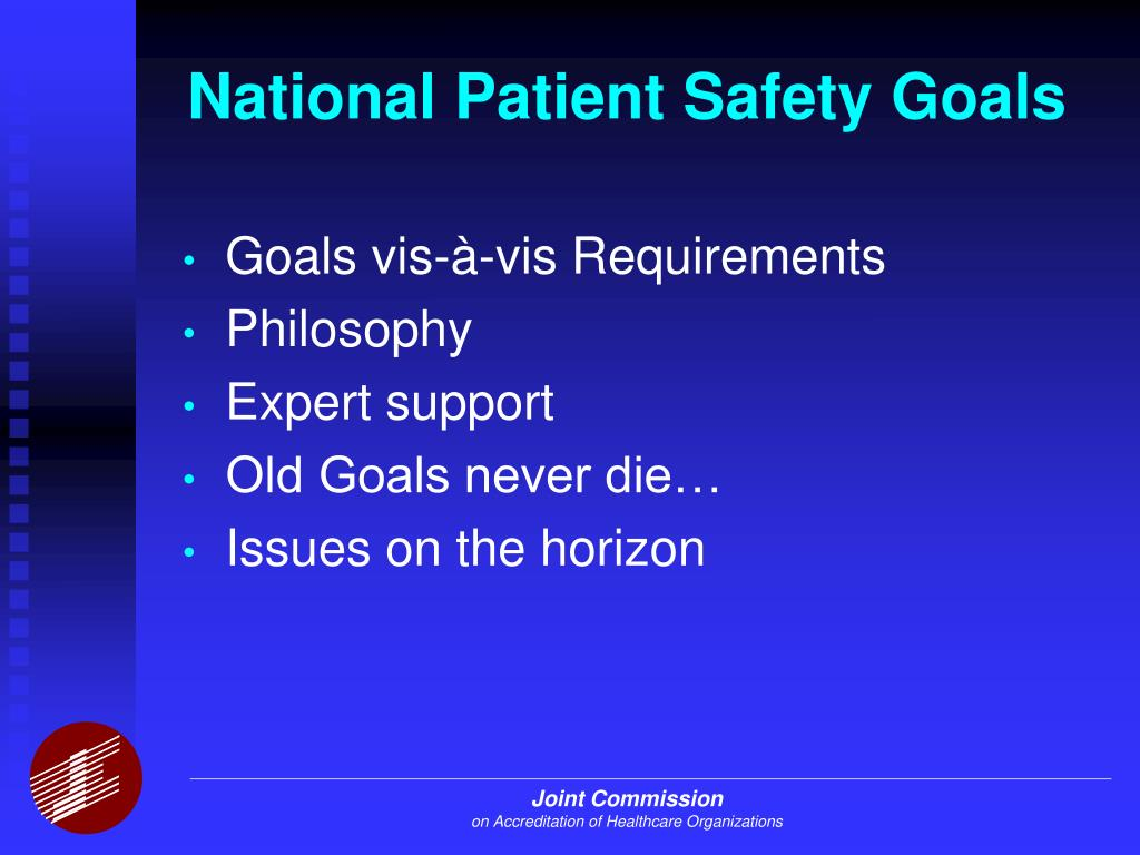 national patient safety goals Start studying national patient safety goals learn vocabulary, terms, and more with flashcards, games, and other study tools.