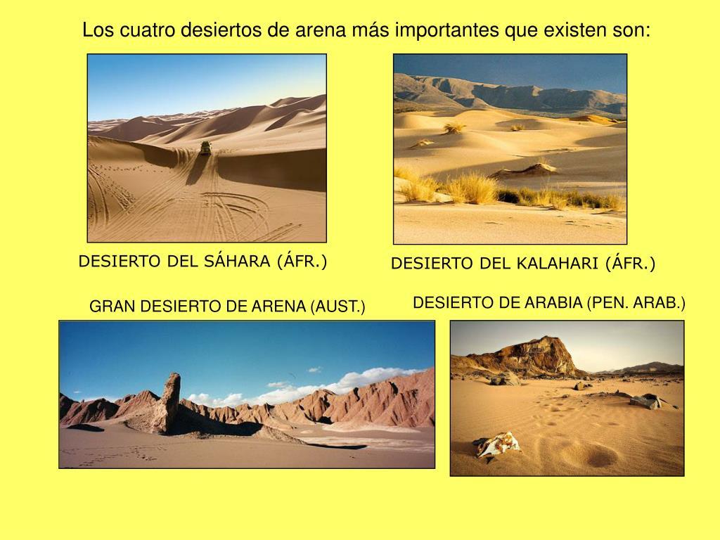 Los cuatro desiertos de arena más importantes que existen son: