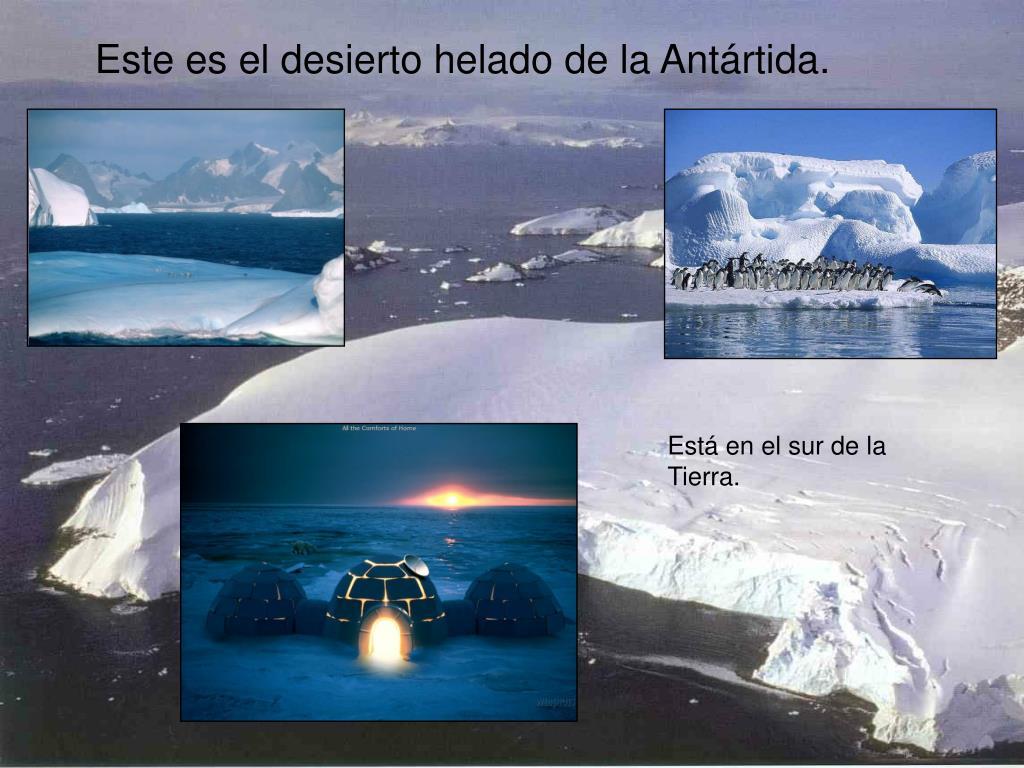 Este es el desierto helado de la Antártida.