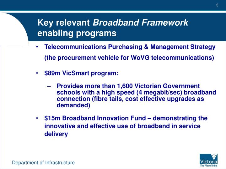 Key relevant broadband framework enabling programs