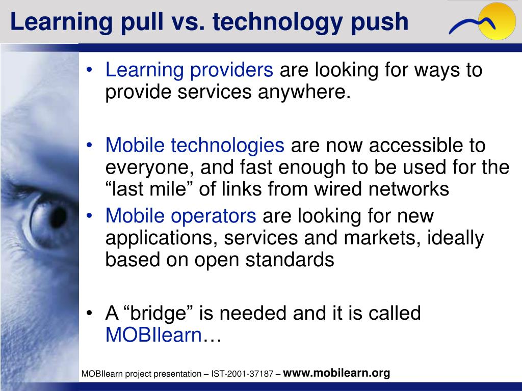 Learning pull vs. technology push