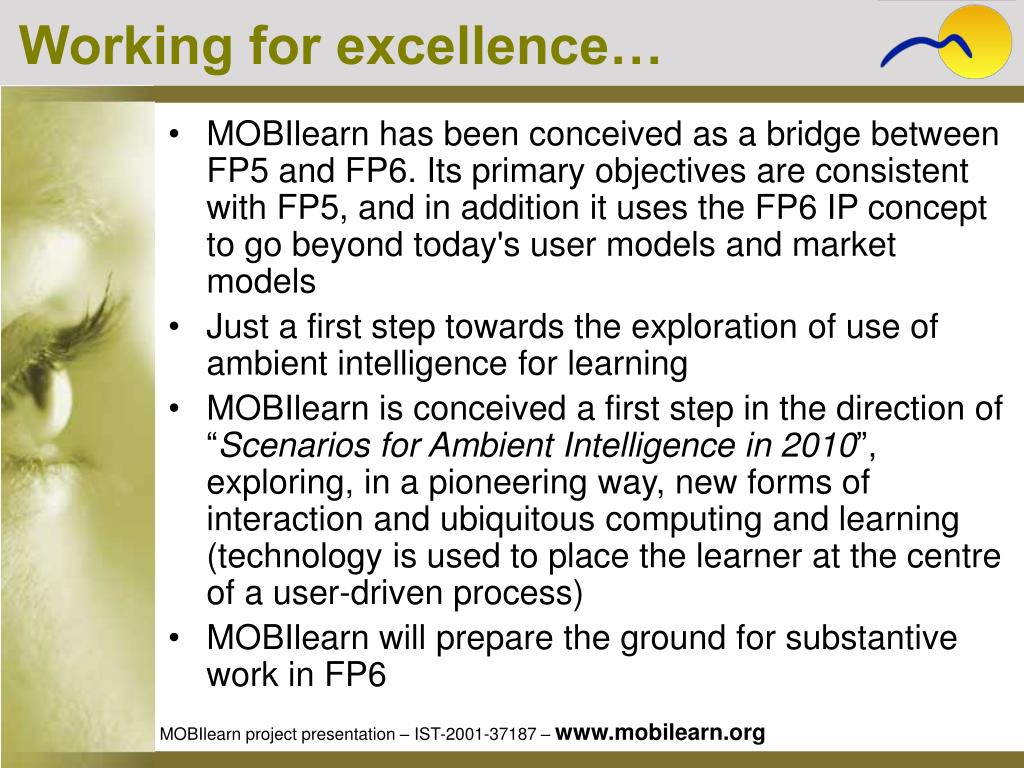 Working for excellence…