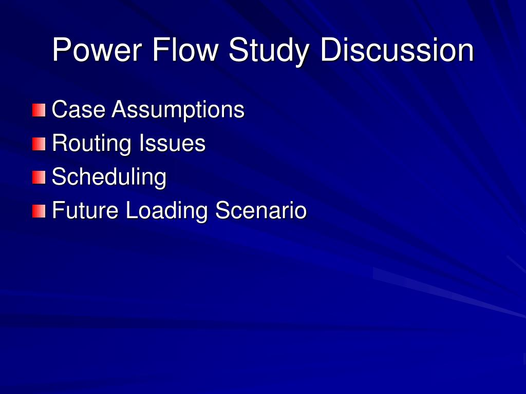 Power Flow Study Discussion