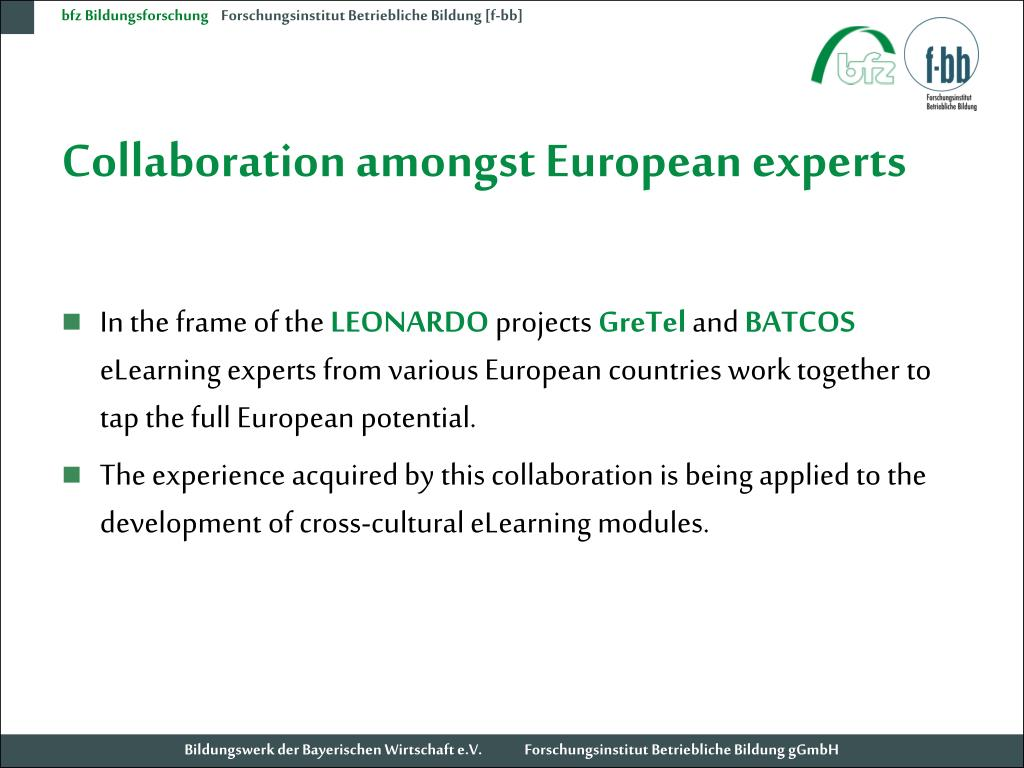 Collaboration amongst European experts