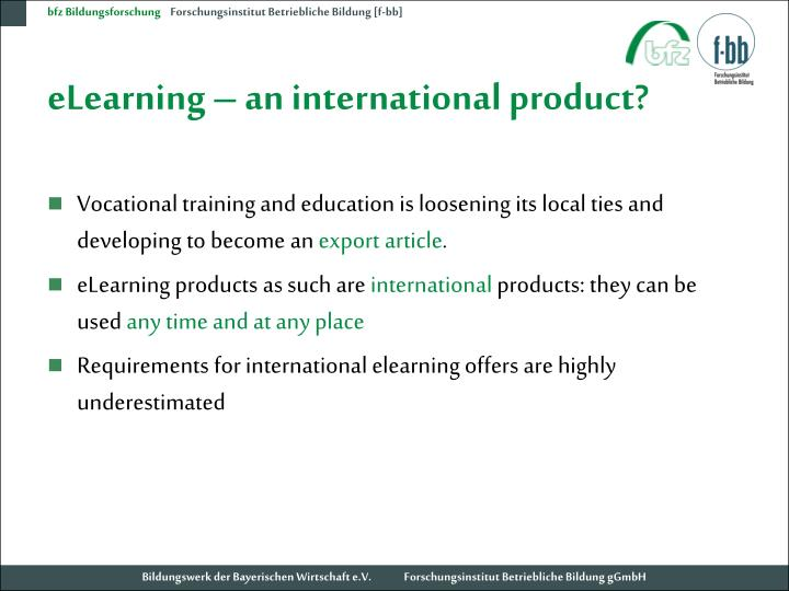 Elearning an international product