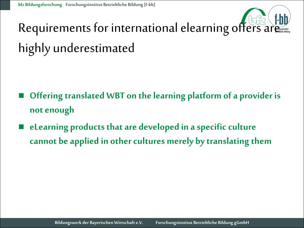 Requirements for international elearning offers are highly underestimated