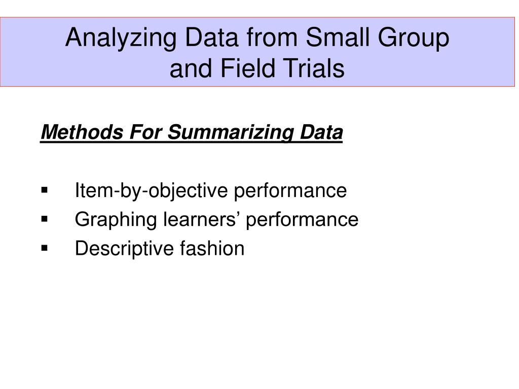 Analyzing Data from Small Group