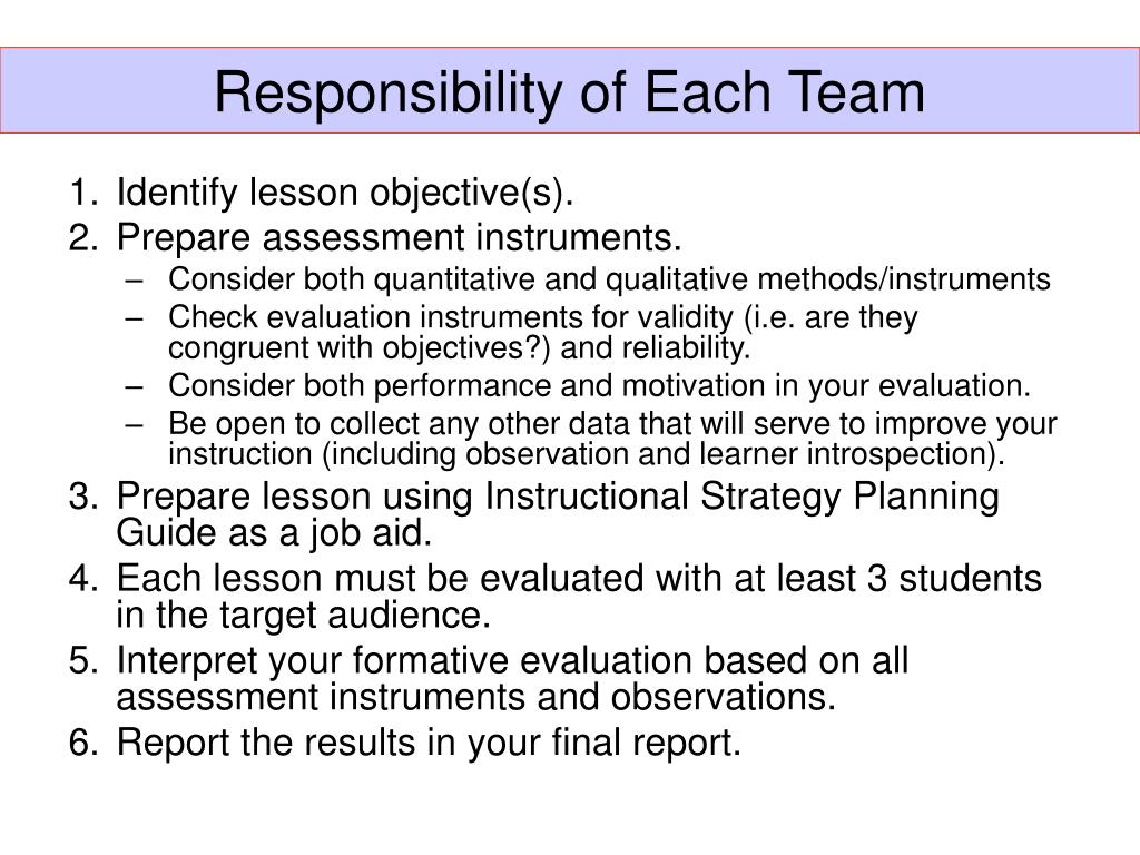 Responsibility of Each Team