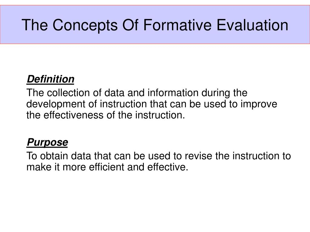 The Concepts Of Formative Evaluation