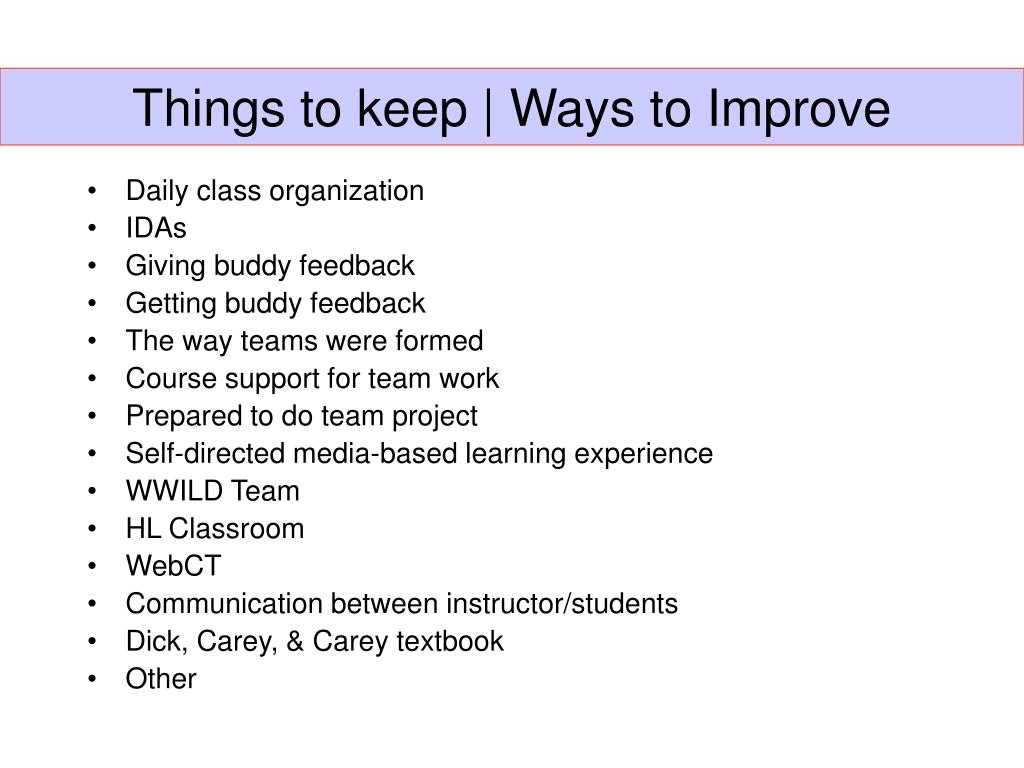 Things to keep | Ways to Improve