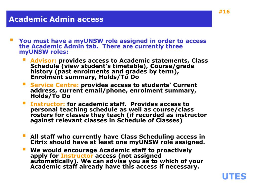 Academic Admin access