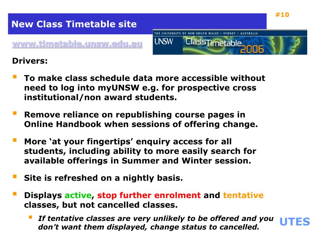 New Class Timetable site