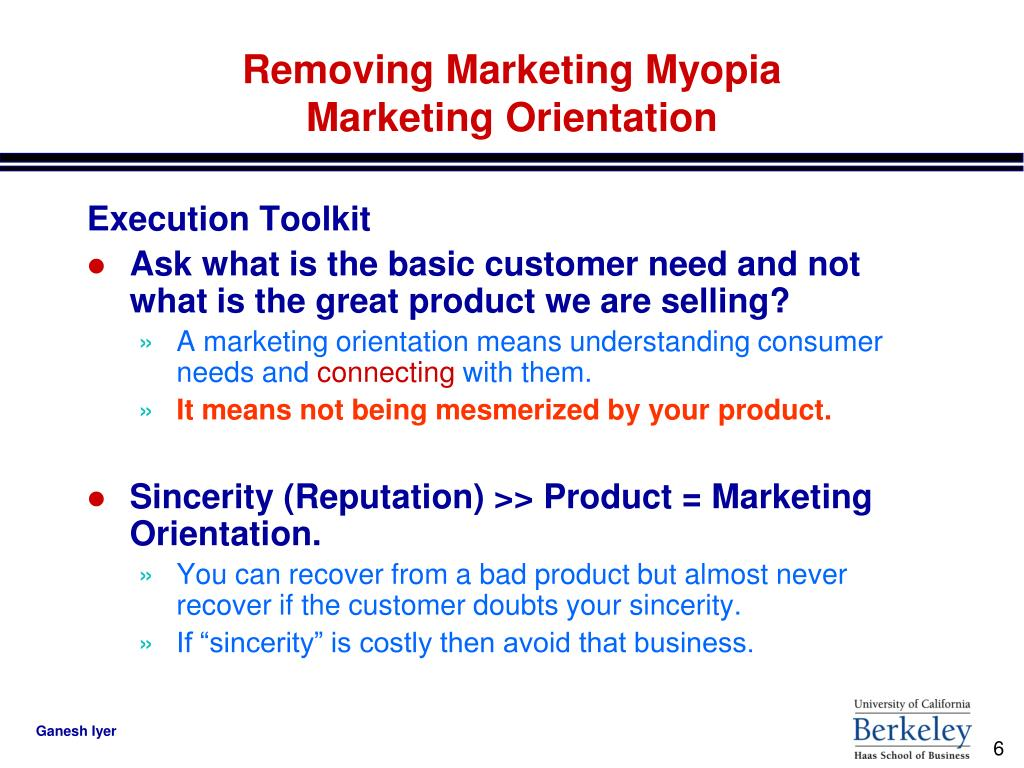 summary of marketing myopia Essay about marketing myopia 779 words apr 6th, 2015 4 pages marketing myopia: marketing myopia suggests that businesses will do better in the end if they concentrate on meeting customers' needs rather than on selling products.