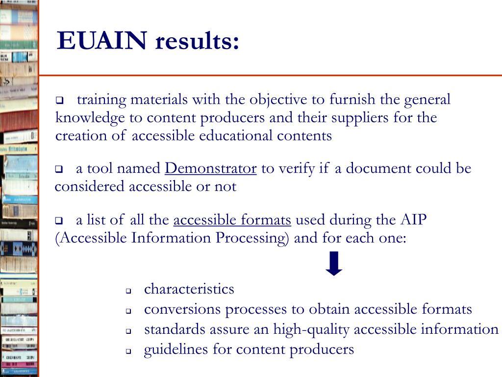 EUAIN results: