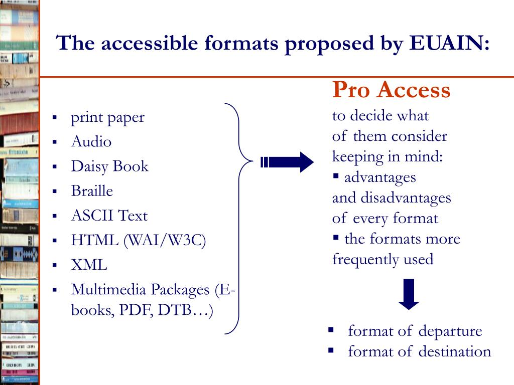 The accessible formats proposed by EUAIN: