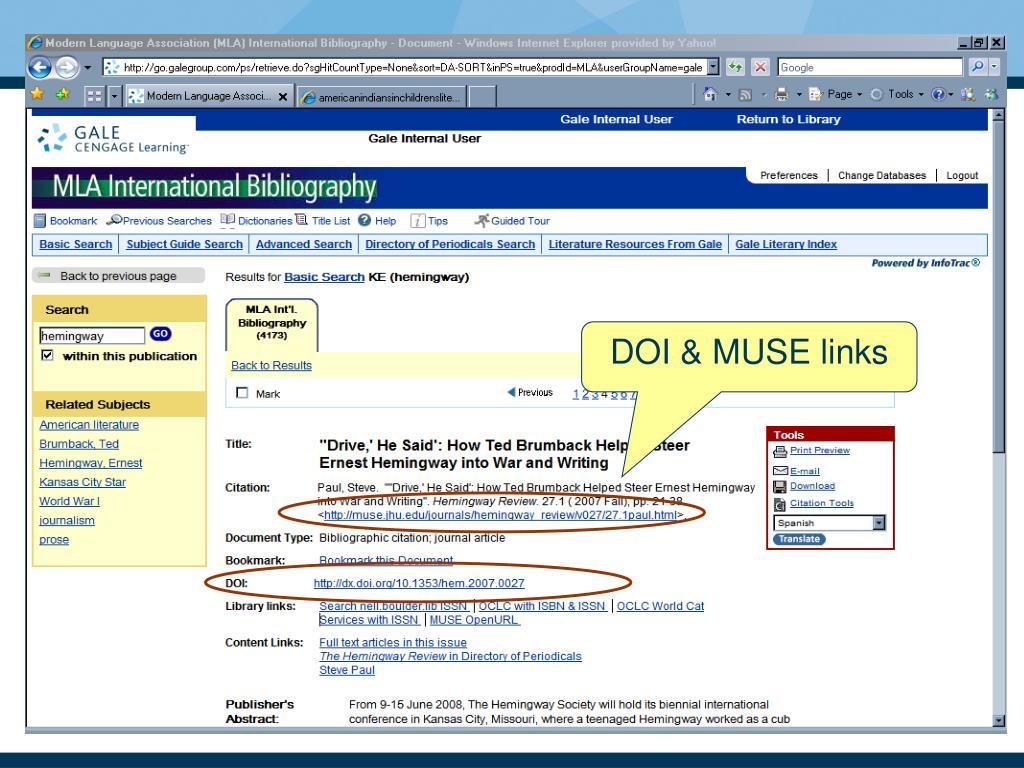 DOI & MUSE links