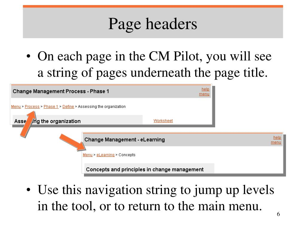 Page headers
