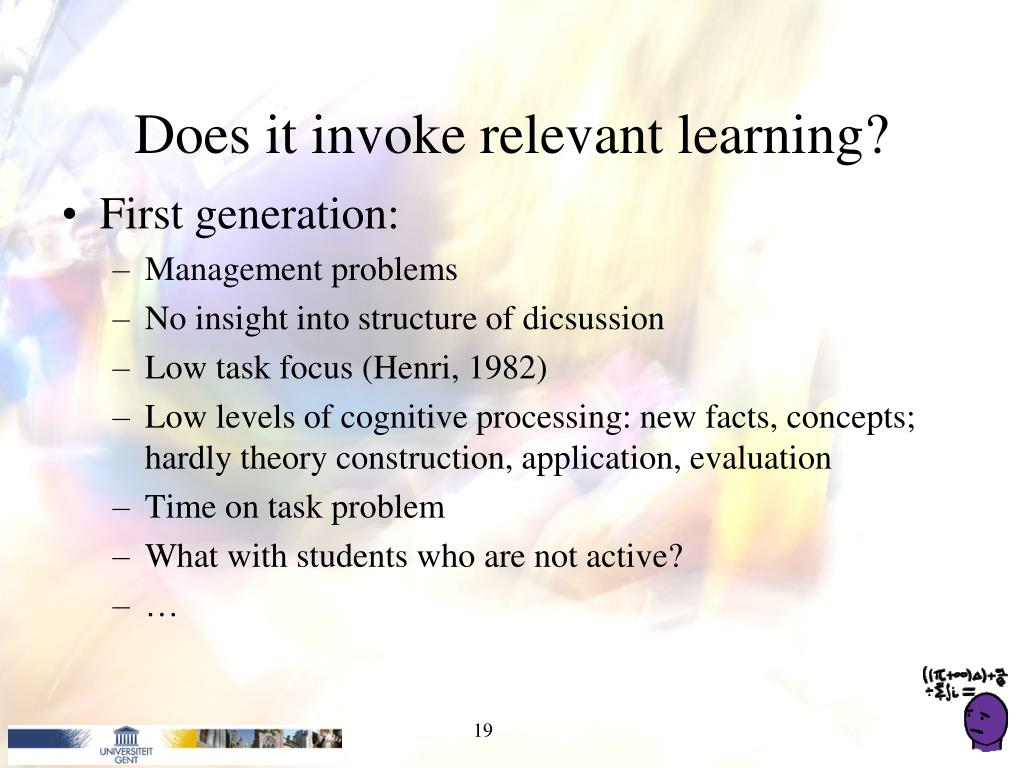 Does it invoke relevant learning?
