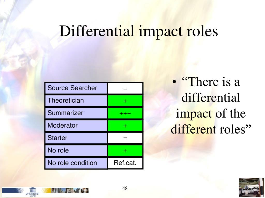"""There is a differential impact of the different roles"""