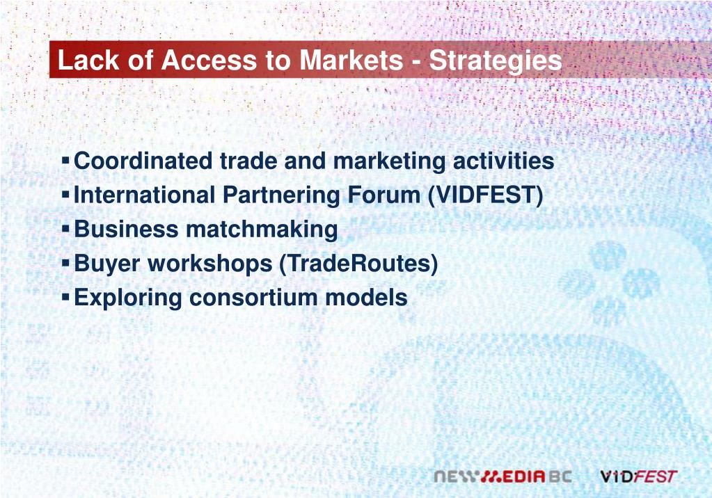 Lack of Access to Markets - Strategies