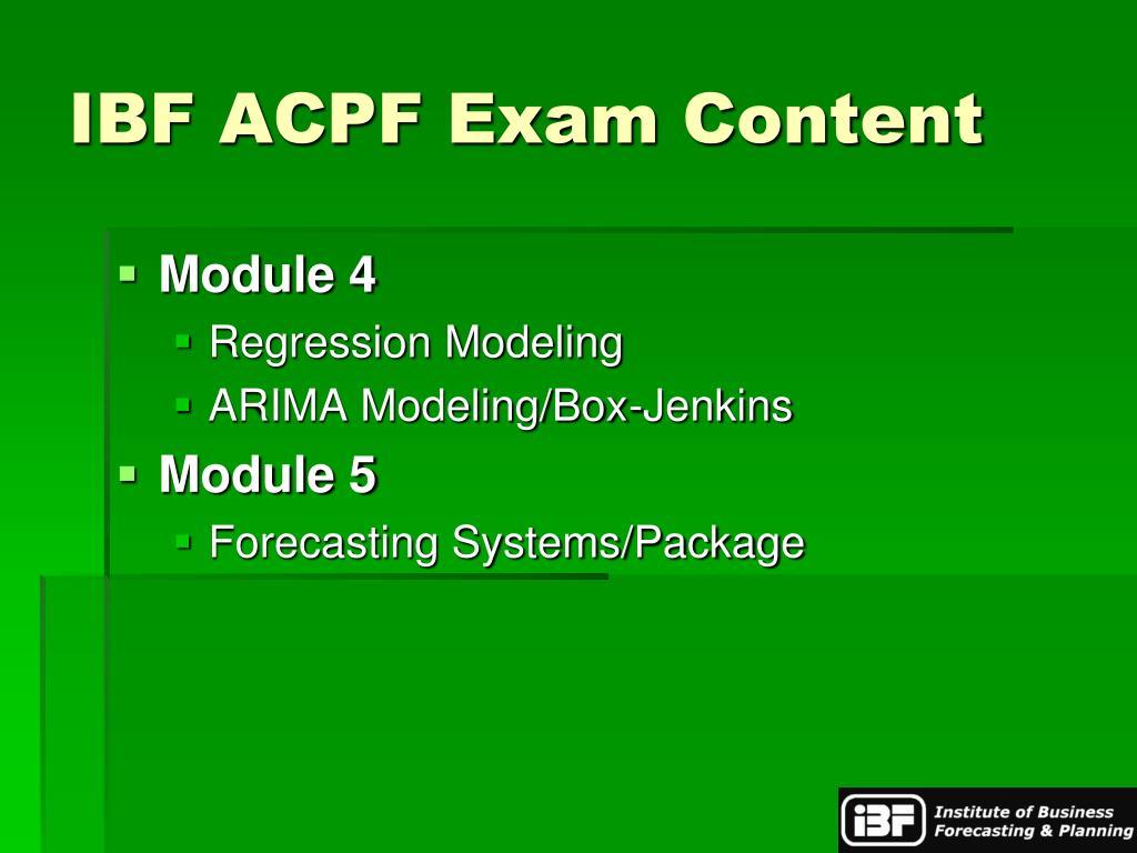 IBF ACPF Exam Content