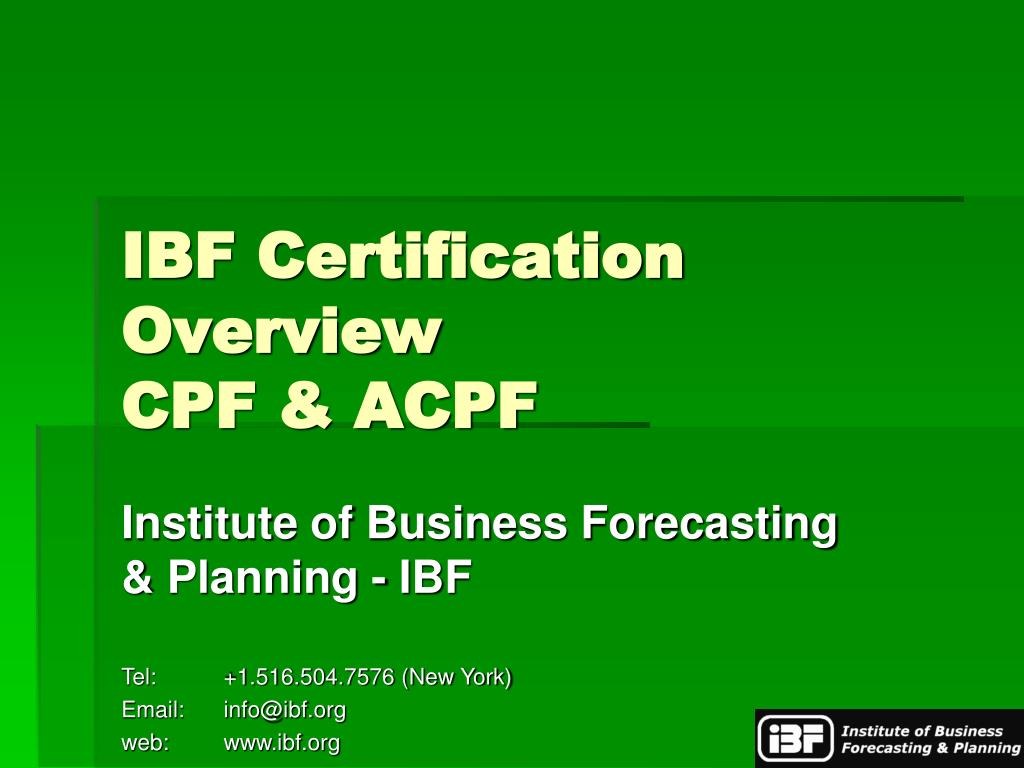 IBF Certification Overview