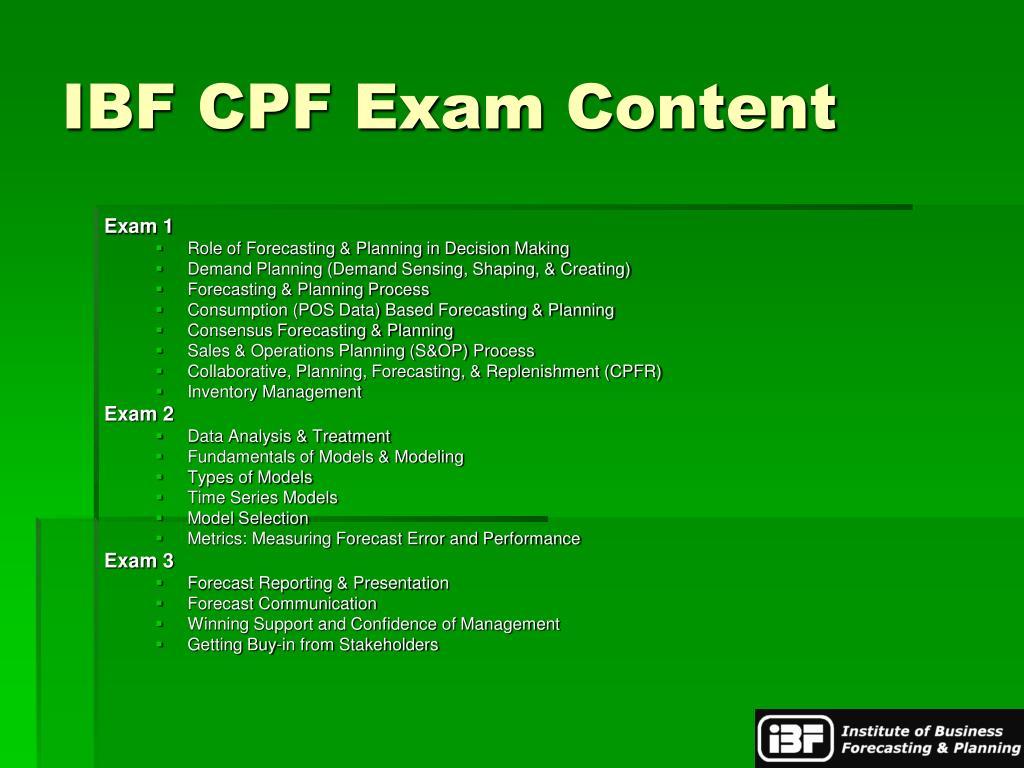 IBF CPF Exam Content