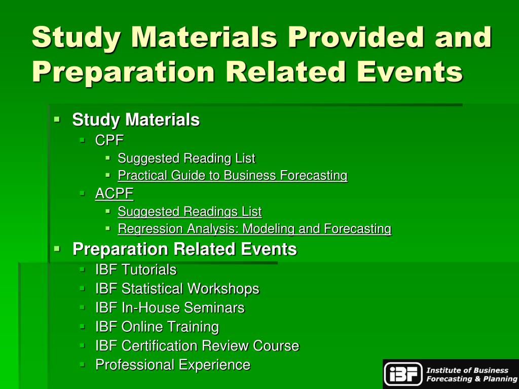 Study Materials Provided and Preparation Related Events