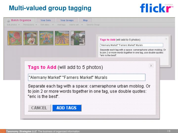 Multi-valued group tagging