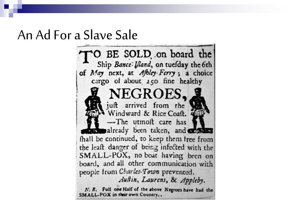 An Ad For a Slave Sale