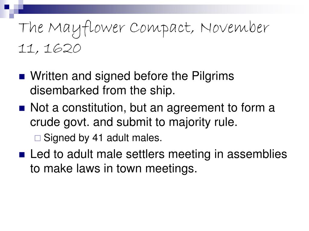The Mayflower Compact, November 11, 1620