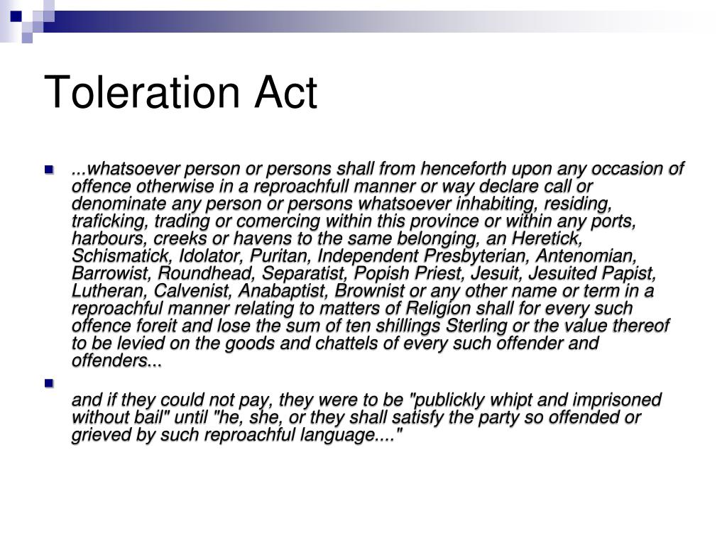 Toleration Act