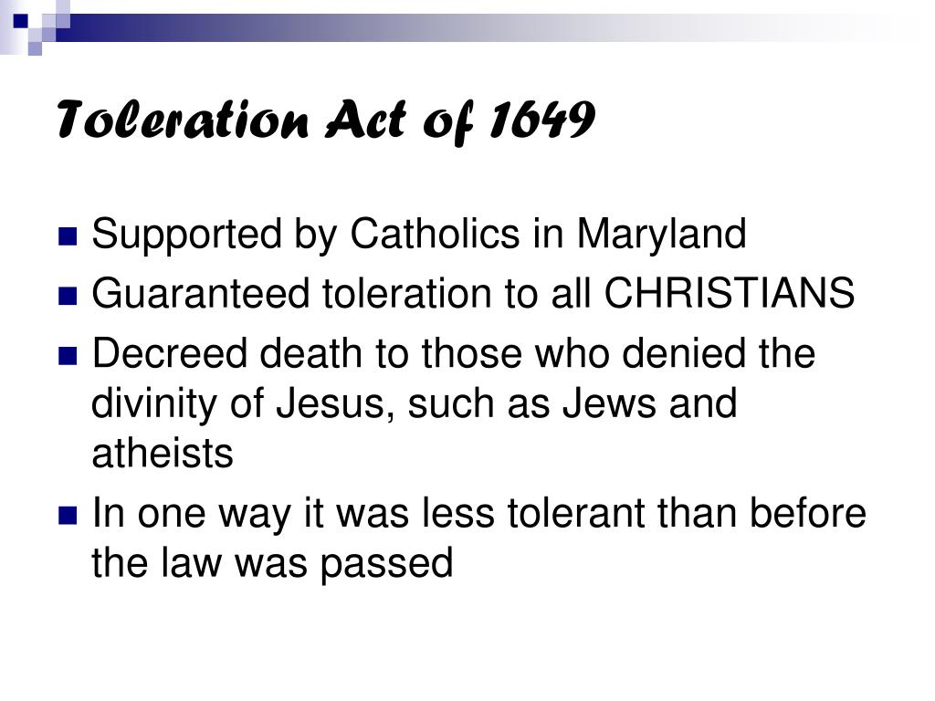 Toleration Act of 1649