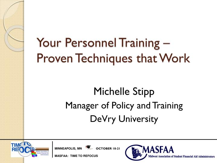 Your personnel training proven techniques that work