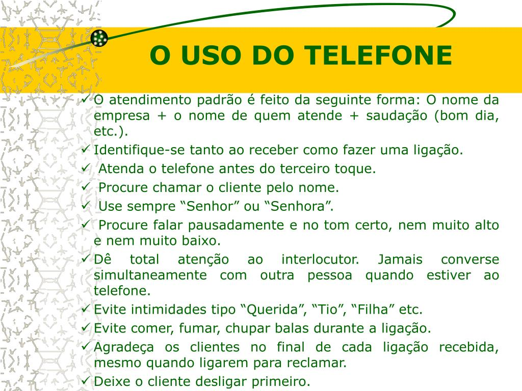 O USO DO TELEFONE