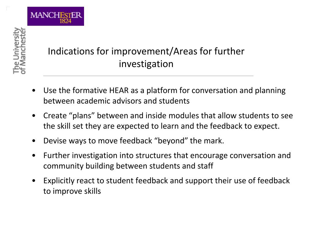 Indications for improvement/Areas for further investigation