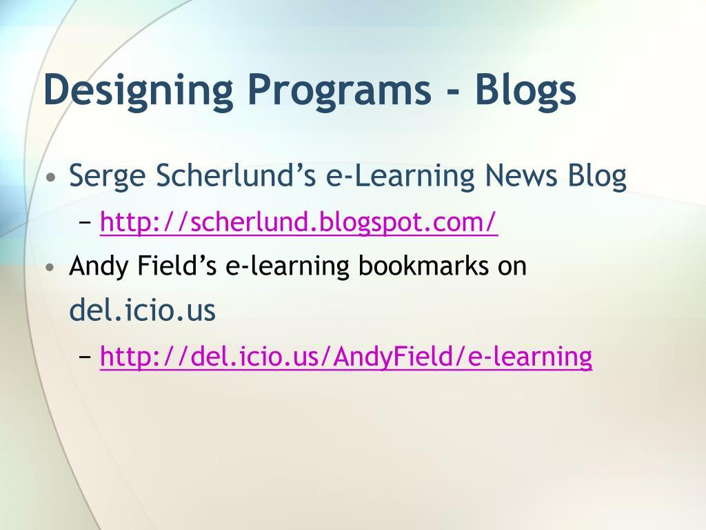 Designing Programs - Blogs