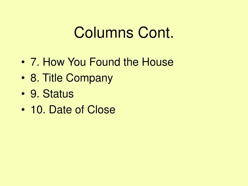 Columns Cont.