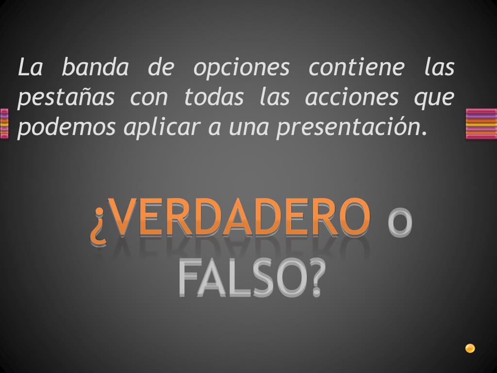 La banda de opciones contiene las pestañas con todas las acciones que podemos aplicar a una presentación.