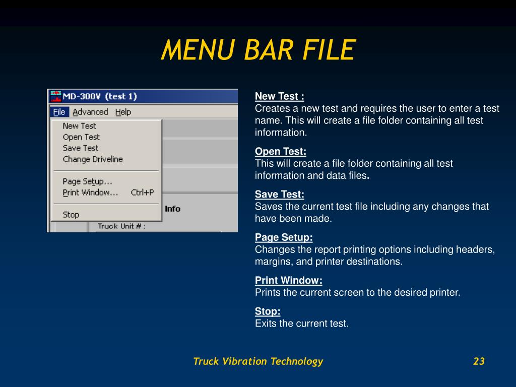 MENU BAR FILE